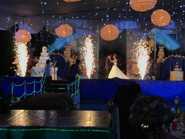 our fireworks display on a wedding stage